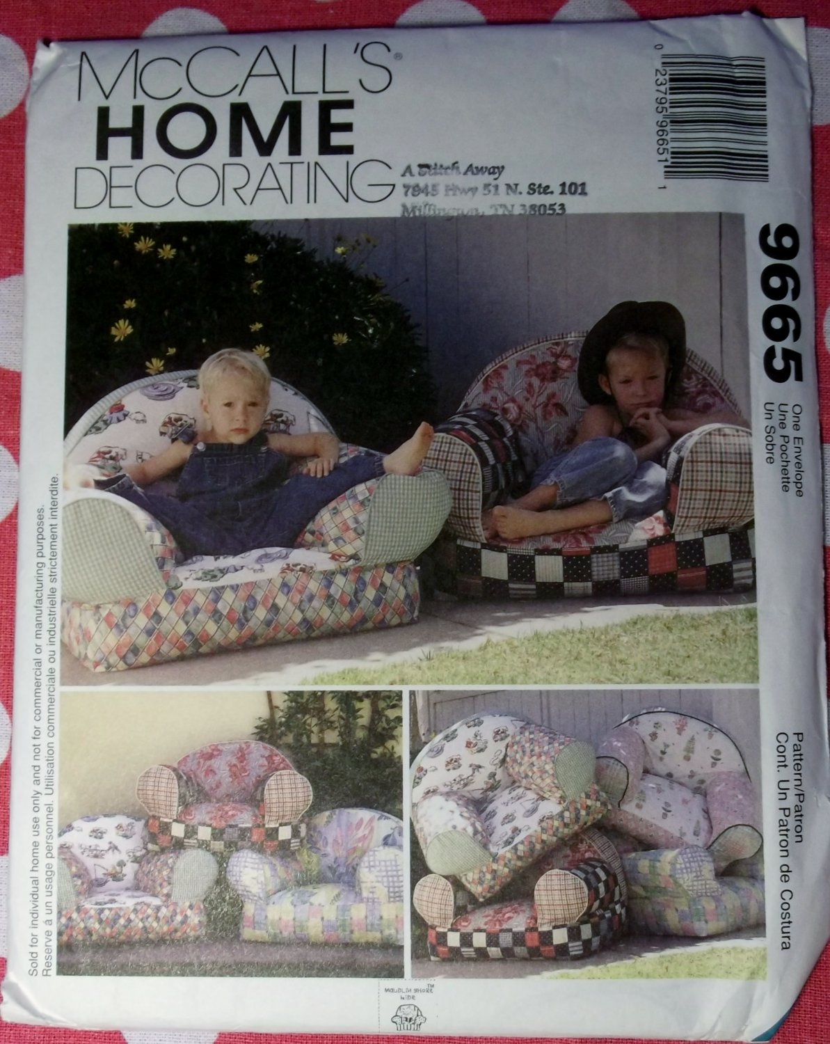 McCall's 9665 Pattern, Kids Chairs, UNCUT