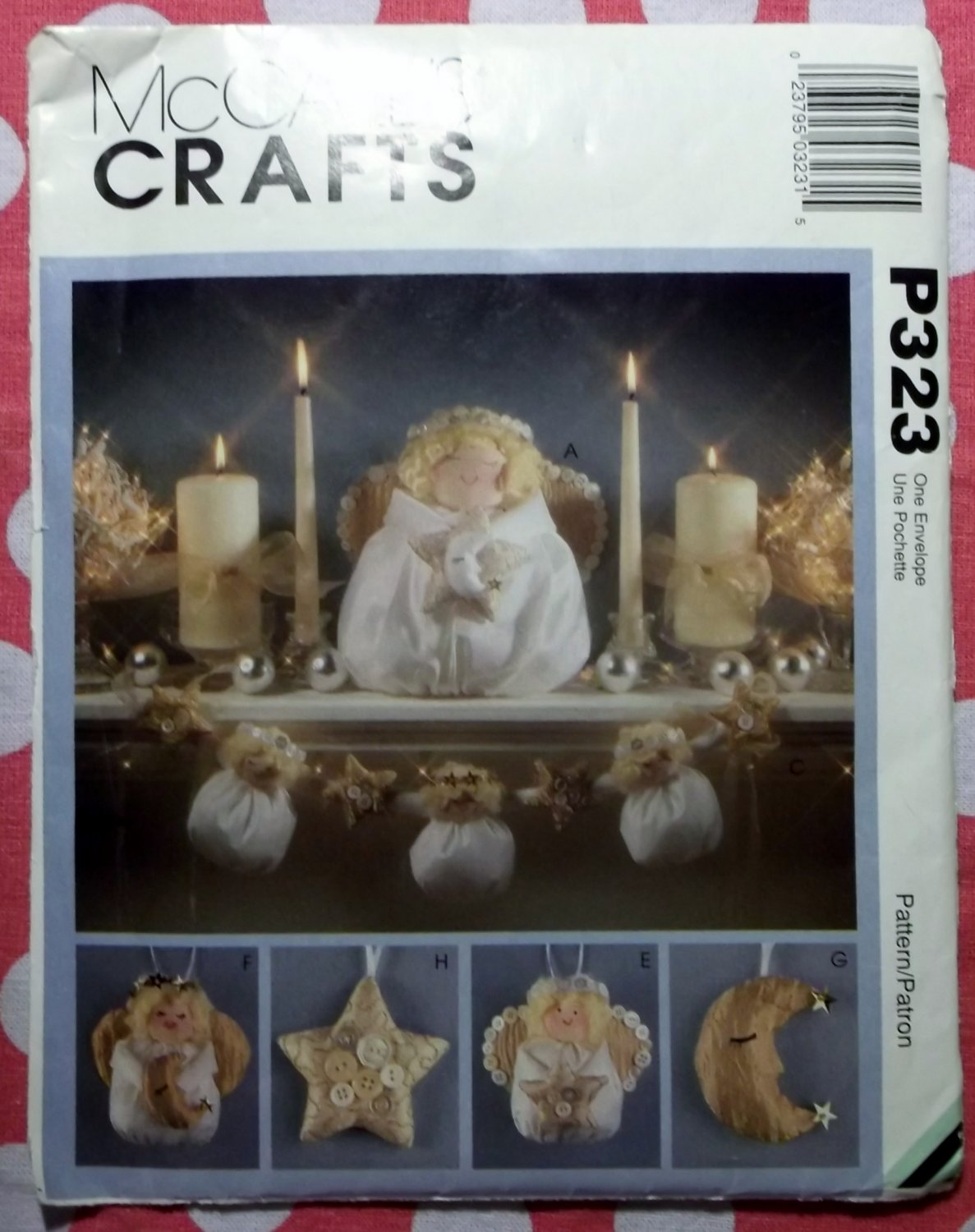 OOP McCall's P323 Holiday Heavenly Dolls, Angels, Wreath, Ornaments Pattern, Uncut FF