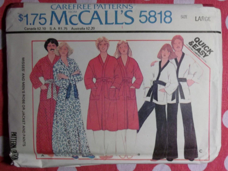 Vintage 70s Quick & Easy McCalls 5818 Pattern, Mens & Misses Robe or Jacket & Pants, Sz LG, UNCUT