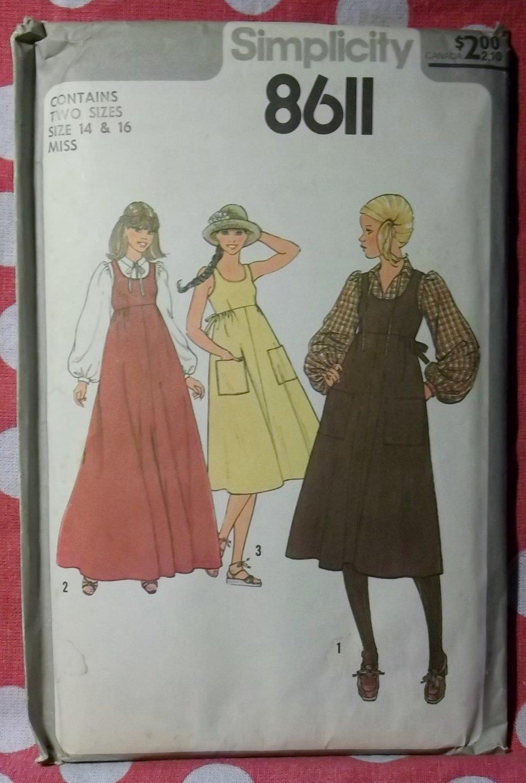 Vintage Simplicity 8611 Pattern, Misses Blouse Sundress or Jumper, sz 14-16, Uncut