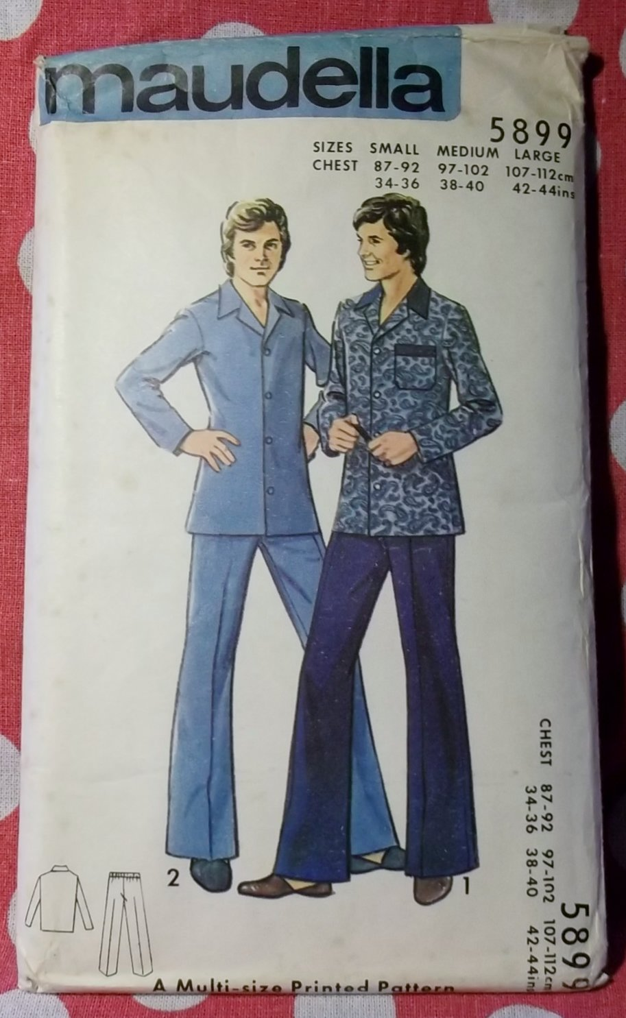 Vintage Maudella 5899 Sewing Pattern, Mens Pyjamas, Sz Sm Md Lg, Uncut