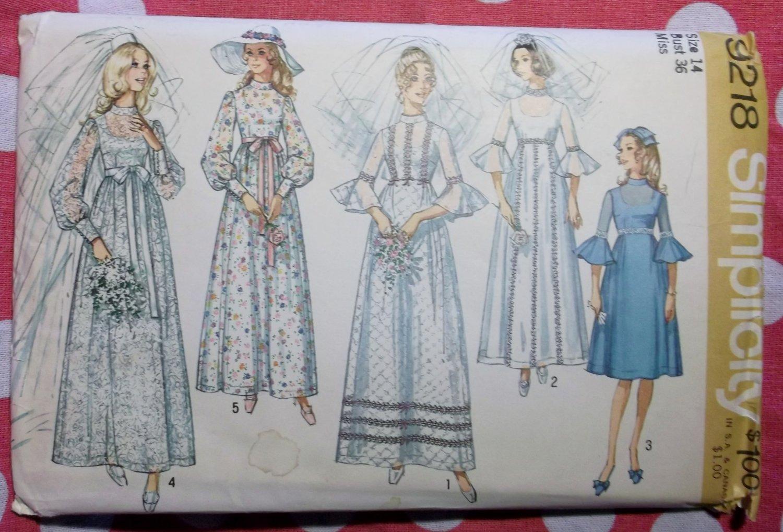 Vintage 1970 Simplicity 9218 Sewing Pattern ,Misses' Wedding & Bridesmaid Dress, Sz 14 Bust 36 Uncut