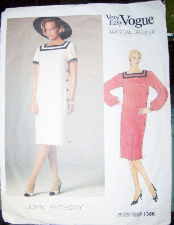 Vintage Easy Vogue Designer John Anthony 1386 Dress pattern, Size 14, Bust 36, UNCUT, FF
