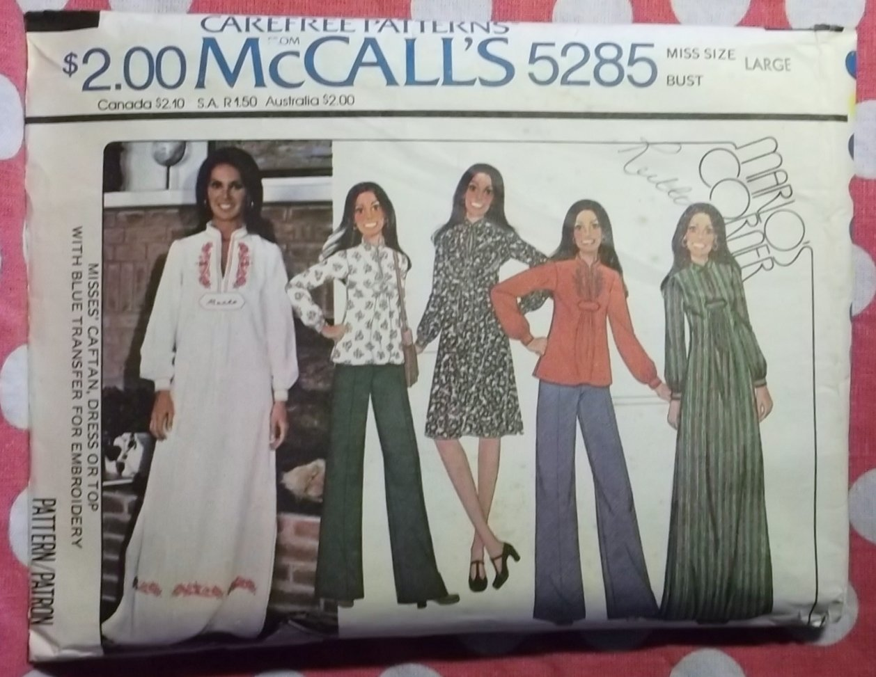 Vintage 1970's McCalls 5285 Caftan, Dress or Blouse Pattern, Sz Large, Uncut