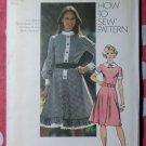 Vintage 70s Simplicity 9849 Pattern, Misses Dress, Sz 14 Bust 36, Uncut