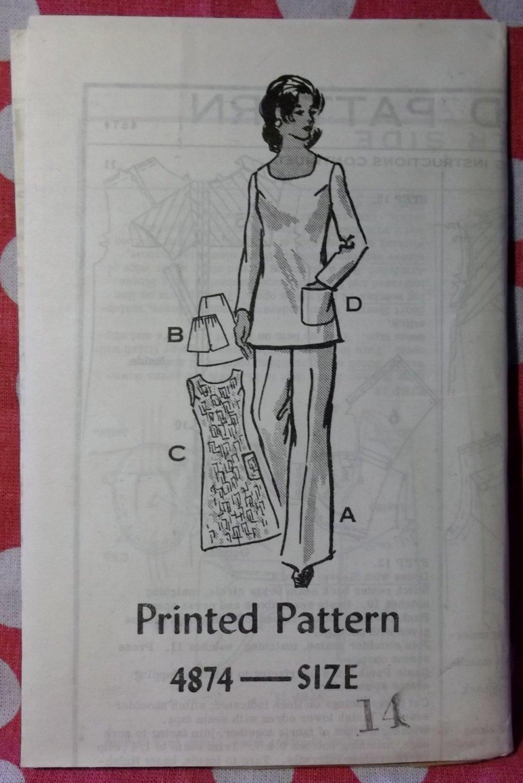 Vintage 70s Annie Adams 4874 Pattern, Dress, Tunic, Skirt, Pants, Shorts, Size 14, Uncut