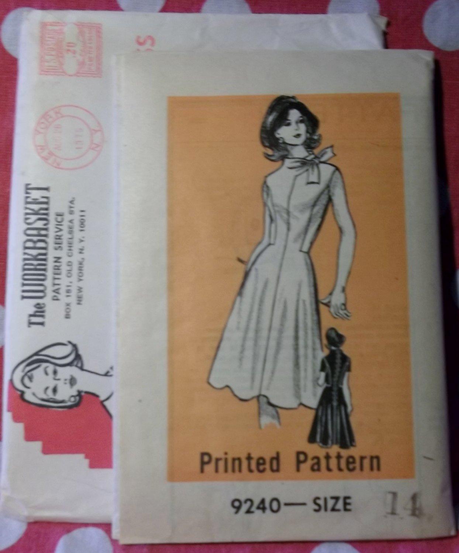 Vintage 70s Mail Order Workbasket 9240 Pattern, Mod Dress, Sz 14, Bust 36, Uncut