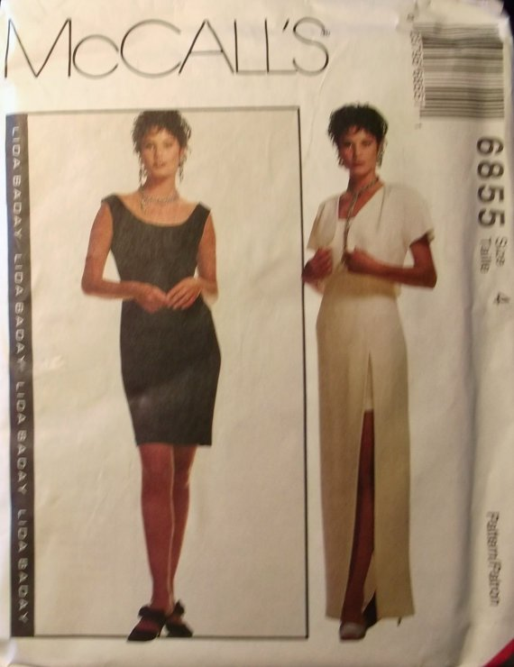 OOP McCalls Lida Baday Design 6855 Sewing Pattern, Dress and Borelo, Size 4, Bust 29 1/2, UNCUT