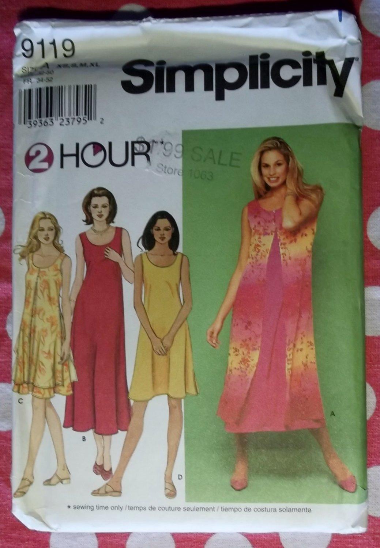 OOP Simplicity 9119  2 Hour Pattern, Misses' Dress Pattern, Plus Size XS, to  XL, UNCUT