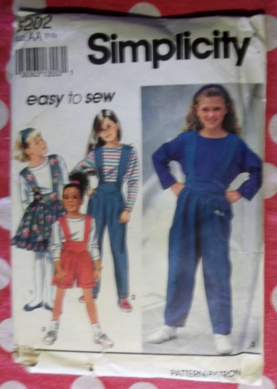 OOP Easy Simplicity 8202 Pattern, Girls Suspender Pants or Shorts, Skirt & Top, Sz 7 8 10, UNCUT