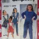 OOP Easy Simplicity 8202 Pattern, Girls Suspender Pants or Shorts, Skirt & Top, Sz 7 8 10, UNCUT