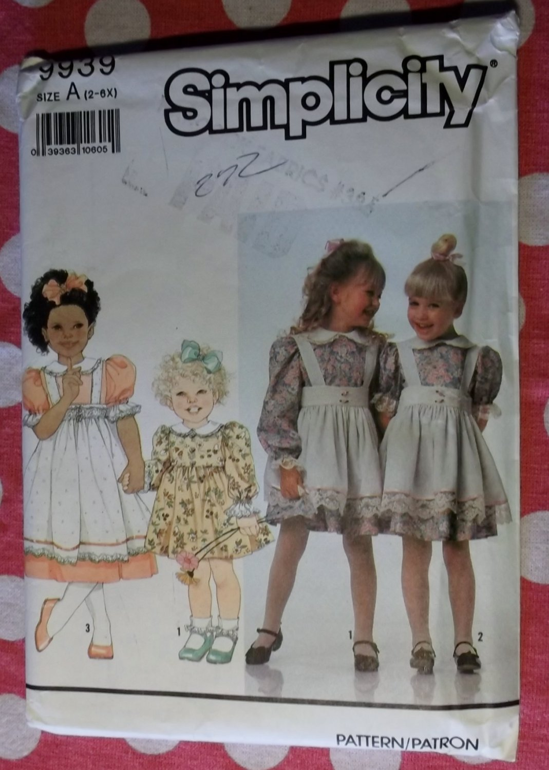 OOP Simplicity 9939 Girls Dress Pinafore Sewing Pattern, Sz 2 3 4 5 6 6X, Uncut
