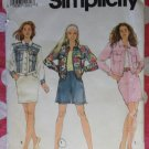 OOP 1991 Simplicity 7628 Skirt, Flared Shorts & Jeans Style Jacket Pattern, Size 4-8, UNCUT