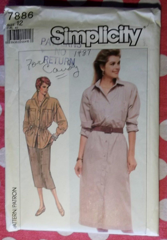 Vintage 80s Simplicity 7886 Misses' ShirtDress, Shirt, Skirt Pattern, Sz 16, Uncut