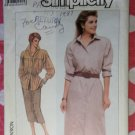 Vintage 80s Simplicity 7886 Misses' ShirtDress, Shirt, Skirt Pattern, Sz 16, Uncut
