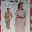 Vintage 80s Simplicity 7886 Misses' ShirtDress, Shirt, Skirt Pattern, Sz 12, Uncut