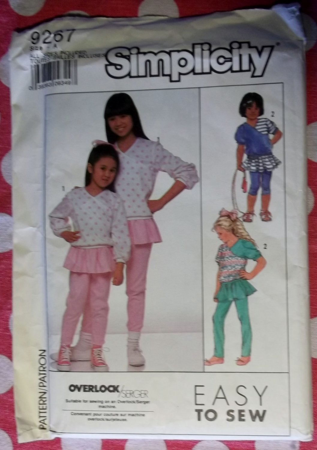 OOP Easy Simplicity 9267 Pattern Girls Pants with Attached Skirt & Top Sz 7 to 14, Uncut