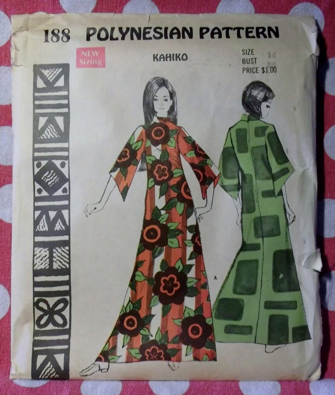 Vintage Polynesian 188 Pattern, Kahiko Hawaii Robe Caftan, Sz 14, Uncut