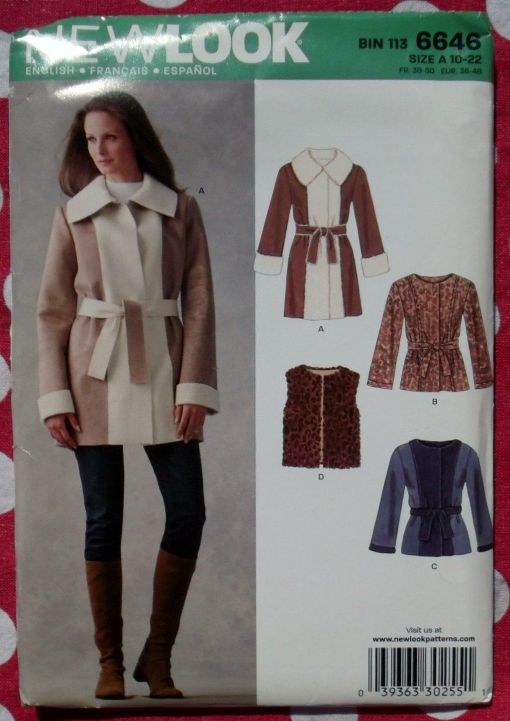 OOP New Look 6646 Misses Jacket in two lengths & Vest Pattern, Sz 10 to 22, Uncut