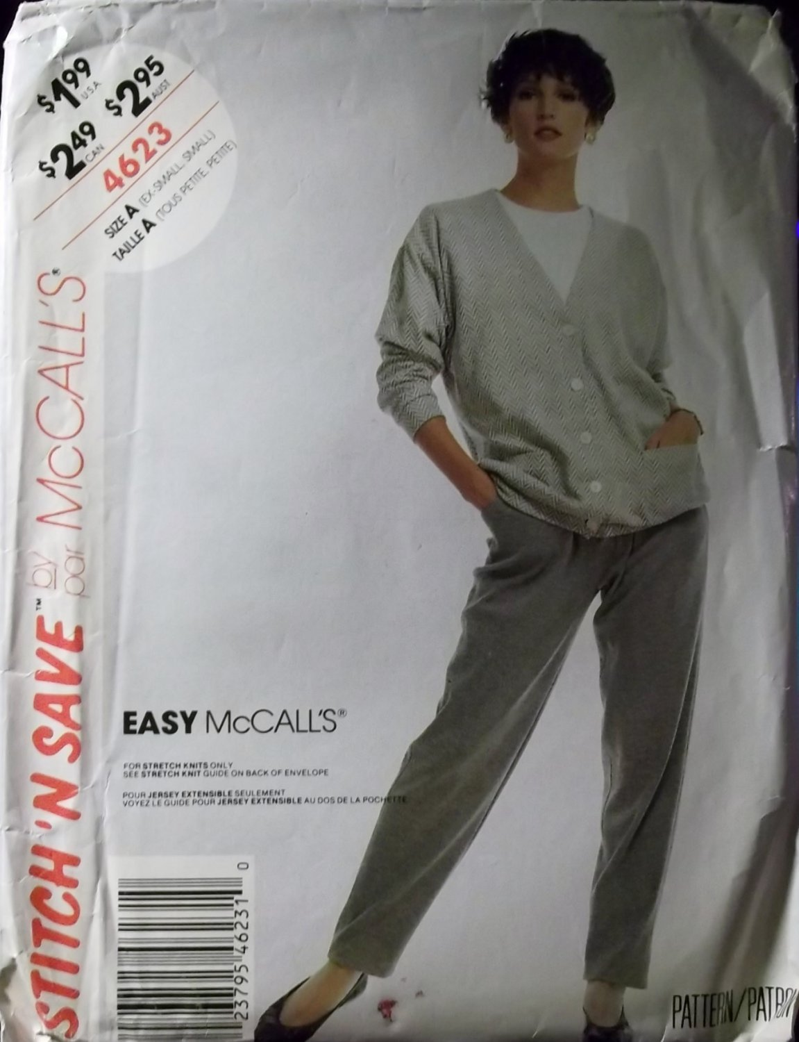 OOP Easy McCall's 4623 Pattern, Misses Cardigan & Pants, Sz 6 8 10 12, Uncut