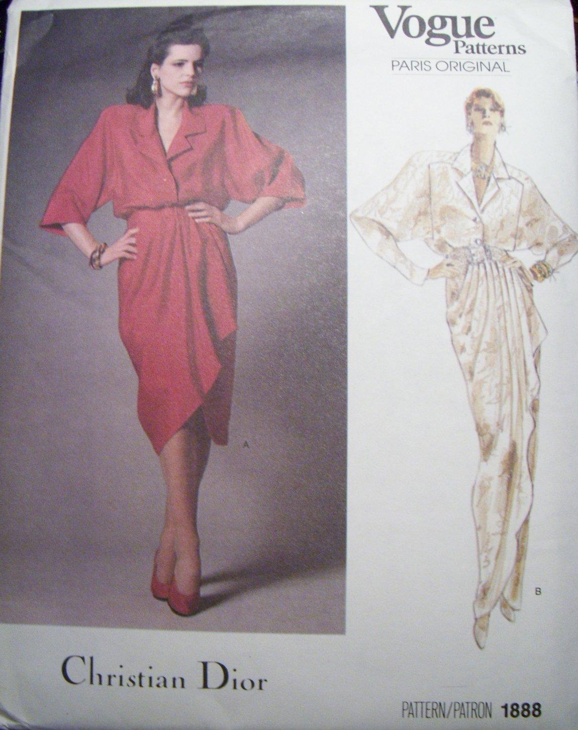 Vintage Vogue 1888 Christian Dior Dress pattern,  Sz 12, Uncut