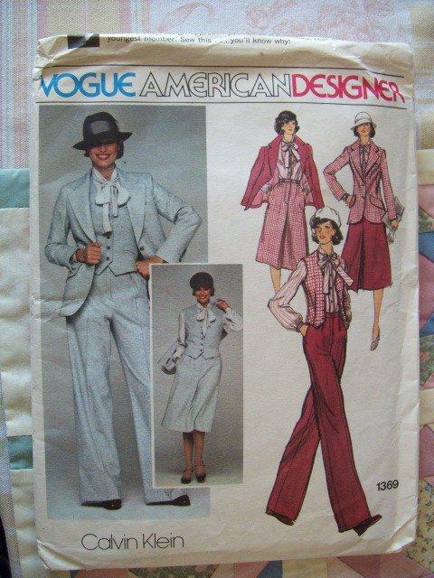 Vintage Calvin Klein Designer Vogue 1369 Pattern, Jacket, Skirt, Pants, Vest & Blouse Sz 10, Uncut
