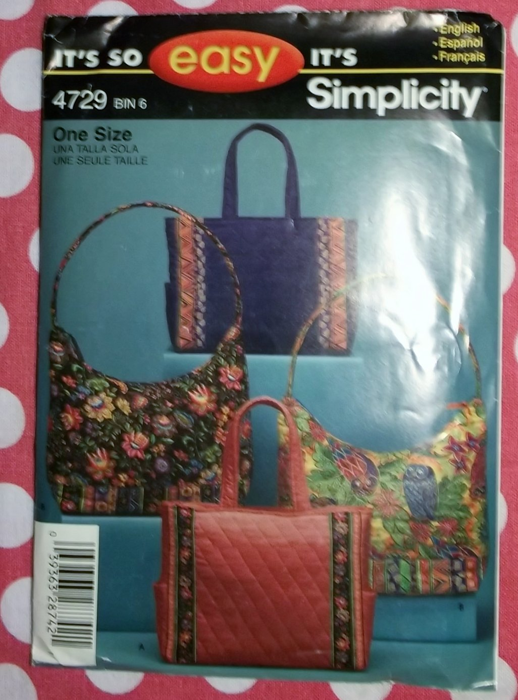 OOP Easy Simplicity 4729 Tote, Handbag Pattern UNCUT