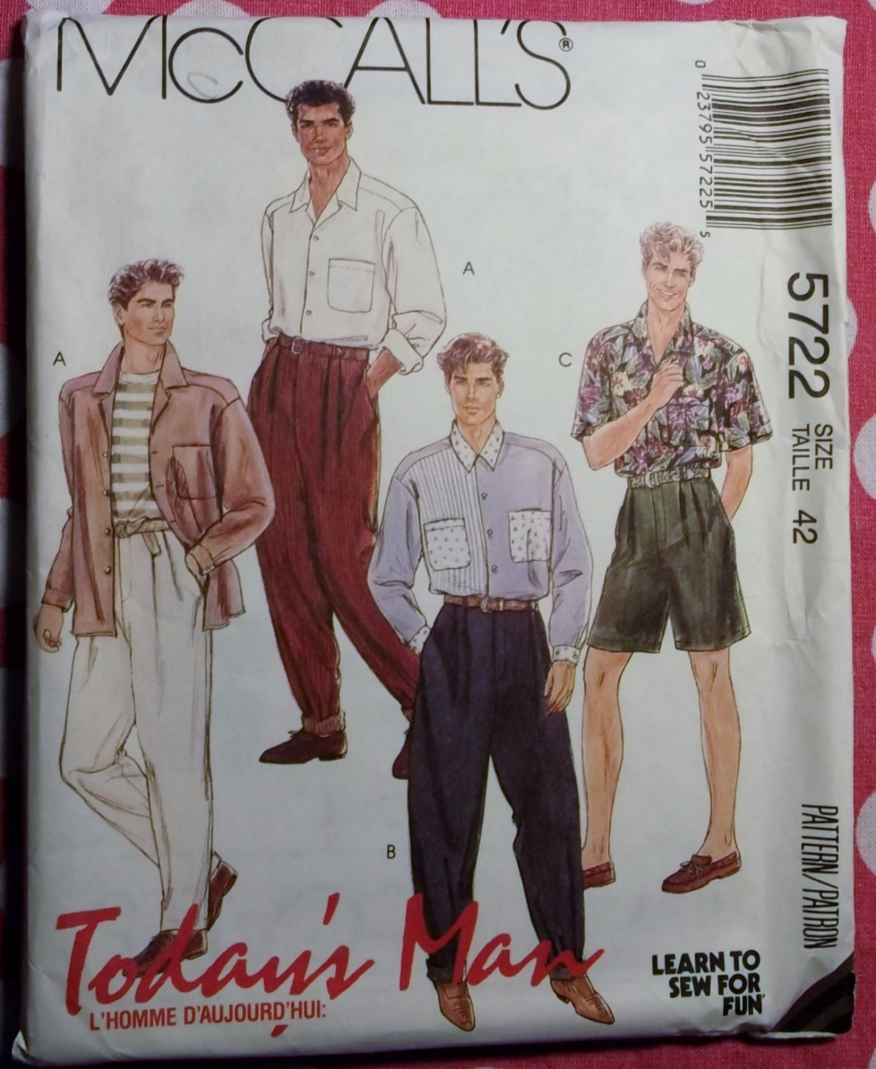 OOP McCalls 5722  Mens Separates Pattern, Size 42, Uncut