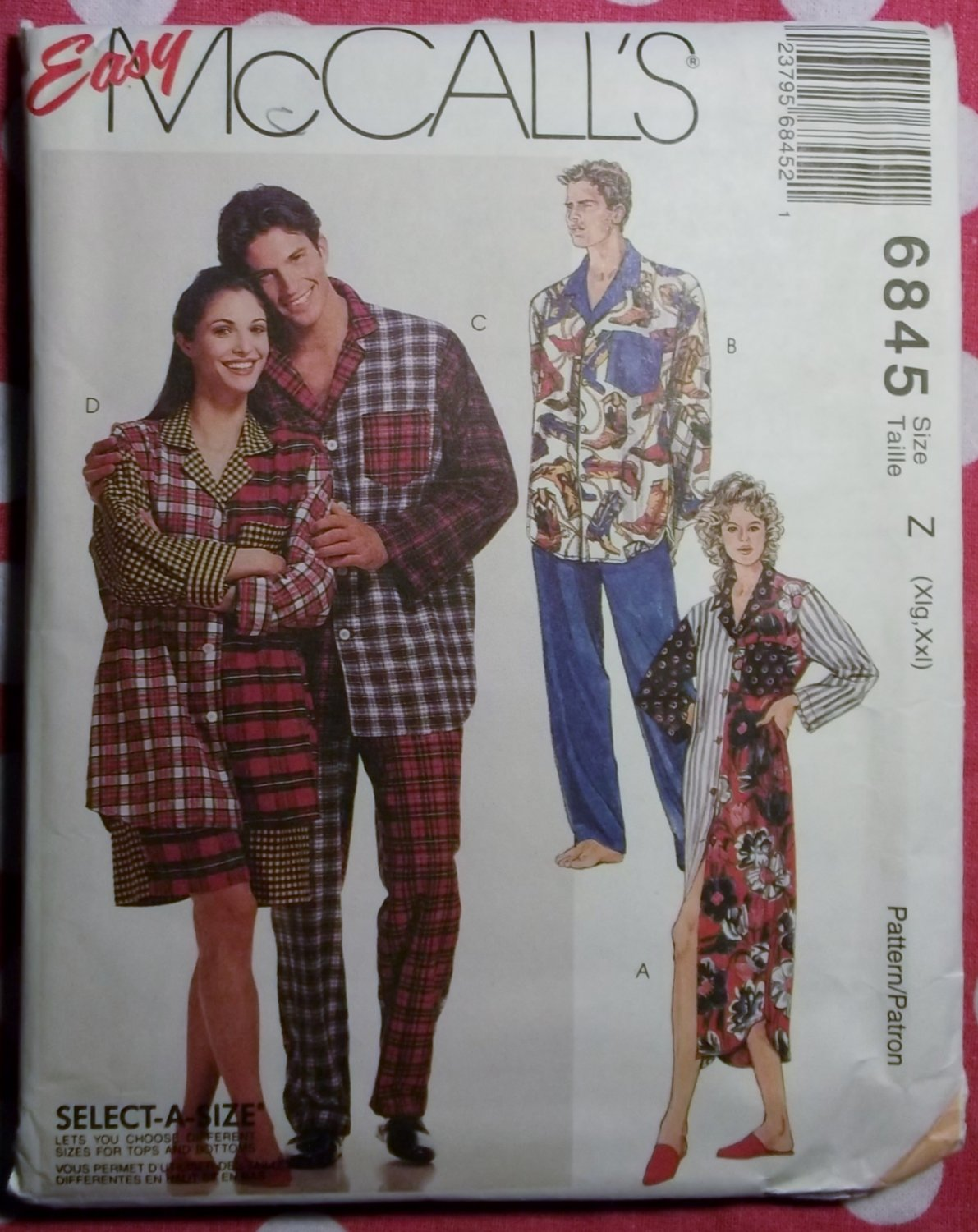Easy McCall's 6845 Unisex Pajamas, and nightshirt Pattern, Sz Xlg, XXl, Uncut