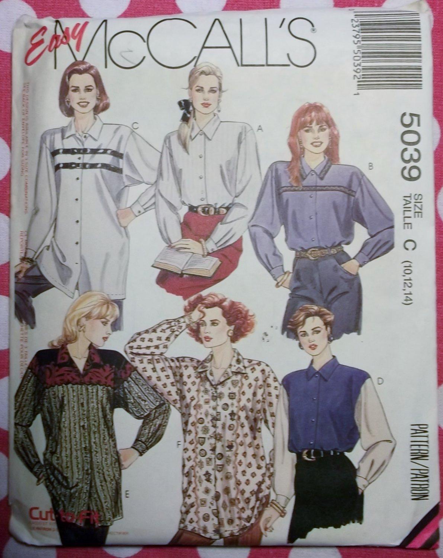 OOP Easy McCalls 5039 Misses' Shirt Sewing Pattern, Sz 10 12 14, Uncut