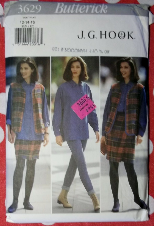 OOP Butterick 3629 Pattern, Misses Vest, Shirt, Wrap Skirt, & Leggings, Sz 12, 14, 16, Uncut