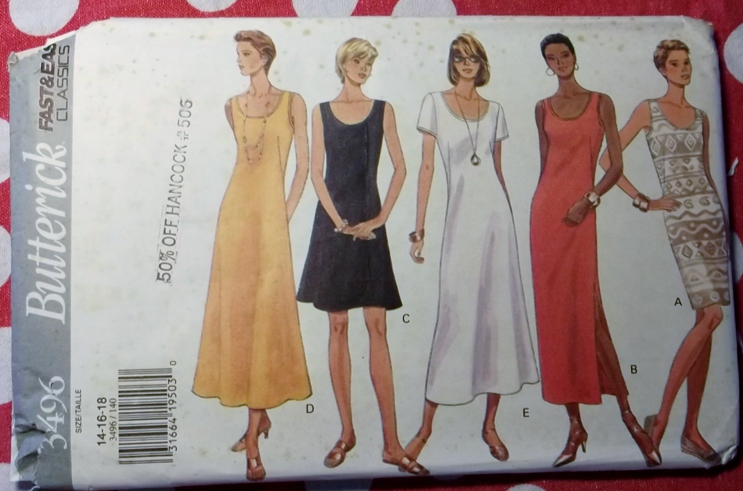 OOP Fast & Easy Butterick 3496 Pattern, Misses' Dress, Sz 14, 16, 18, Uncut
