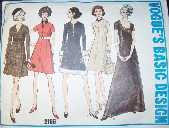 Vintage 1960s Retro Mod Vogue 2166 Pattern, Dress, Gown Fur or Jewel Trim, Size 14, Bust 36