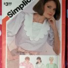 Vintage 80s Simplicity 5849 Blouse Pattern with Collar Variations, Sz 12, Uncut