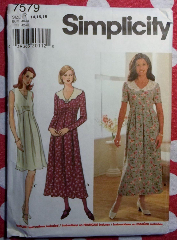 OOP Simplicity 7579 Sewing Pattern,  Misses' Dress, Sz 14, 16, 18, Uncut
