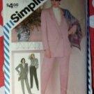 Vintage 80s Simplicity 6107 Misses Tahari Pants, Blouse, & Jacket, Sz 12, Uncut