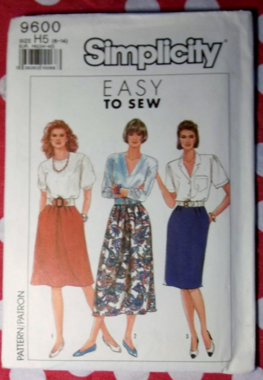 OOP Easy Simplicity 9600 Misses Skirts Pattern,  Sz 6 to 14, UNCUT