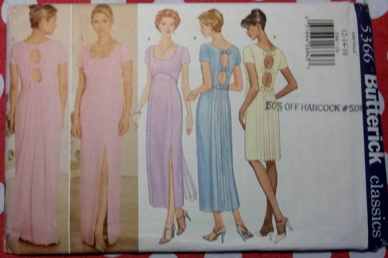 OOP Classics Butterick 5366 Misses Keyhole Gown, Dress Sewing Pattern Size 12 14 16, Uncut