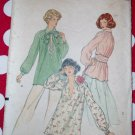 Vintage 70s Misses' Blouse, Tie and Sash Vogue 9173 Pattern, Size 14, UNCUT