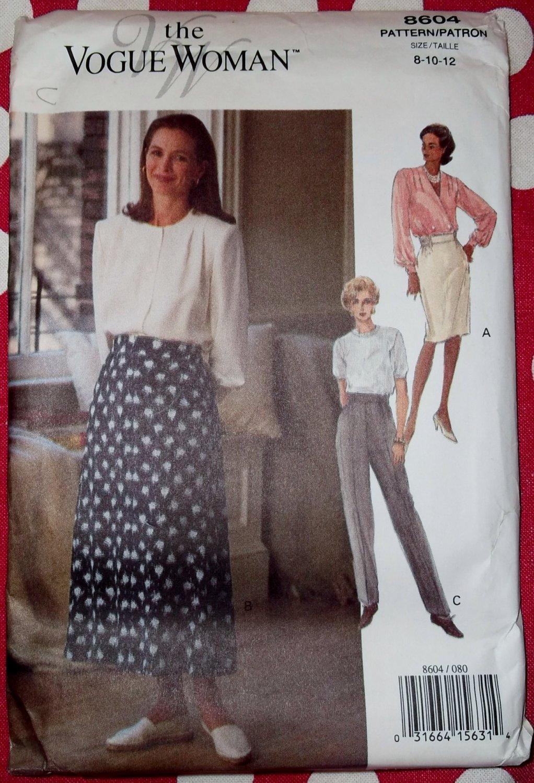 OOP Very Easy Vogue 8604 Pants & Skirt Pattern, Sz 8 10 12, Uncut