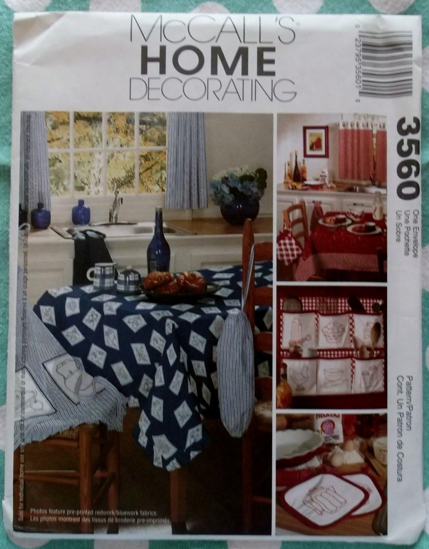 OOP McCalls 3560 Kitchen Decor Pattern, Tablecloth Curtains Organizer Apron, Uncut