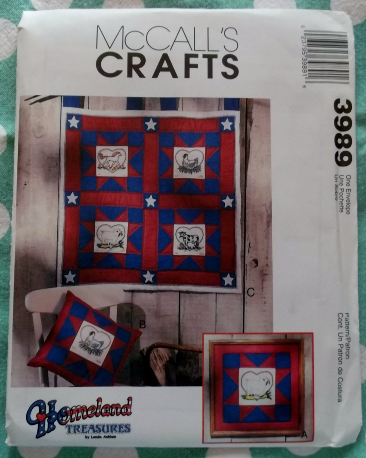 OOP McCall's 3989 Chicken Cow Pig Quilt Pattern, Uncut