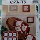 OOP McCall's 3554 Embroidery Pattern Redwork Pillows, Quilts, Art, Uncut