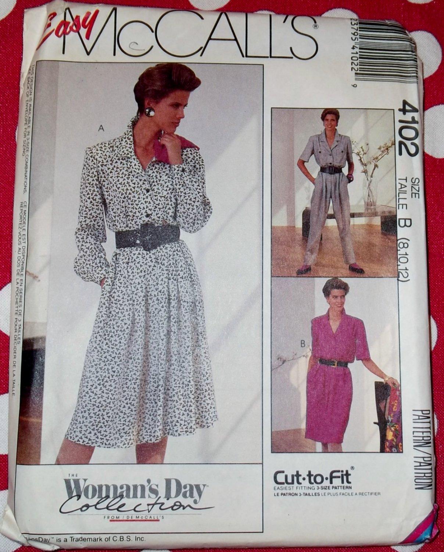 Vintage McCalls 4102 Misses Dress and Jumpsuit Pattern, Sz 8 10 12, Uncut