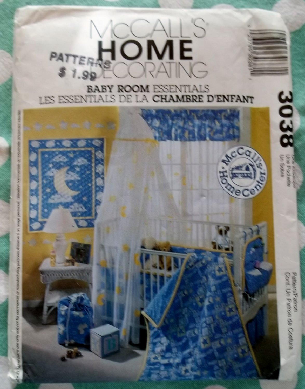 OOP McCalls 3038 Baby Room Essentials Pattern, Uncut