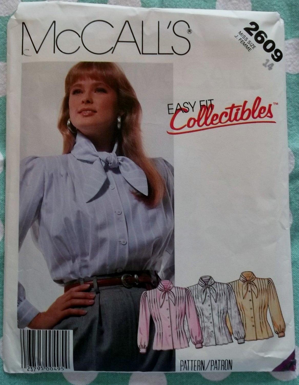 Vintage Easy Fit McCalls 2609 Misses Blouse Pattern, Misses 14, Uncut