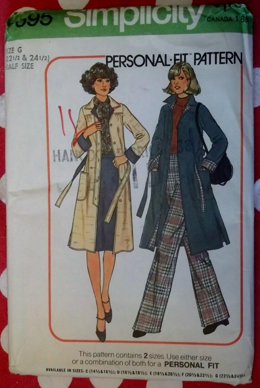 Vintage 70s Simplicity 7695 Womens Coat, Pants & Skirt, Sz 22 1/2 24 1/2, Uncut