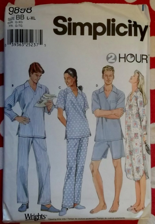 OOP Easy Simplicity 9898 Unisex Nightshirt and Pajamas Pattern,  Sz Lrg, X Lrg, 42 to 48  Uncut