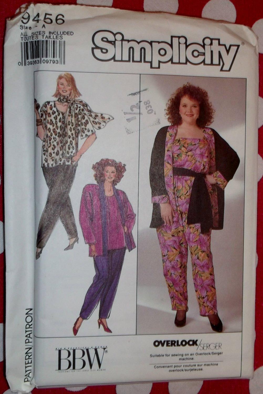 OOP Simplicity 9456 Womens Pants Tops Jacket Scarf Pattern, Sz 18W-32W