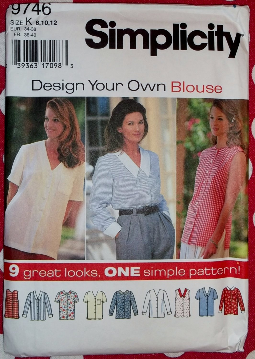Simplicity 9746 Pattern,  Misses' Blouses,  9 Great Looks, Sizes 8, 10, 12, Uncut